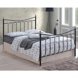 Oban Metal King Size Bed In Black And Chrome Silver
