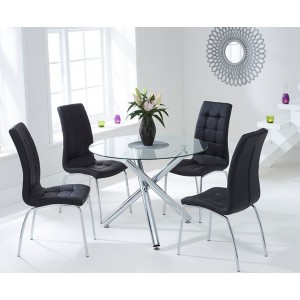 Nevada Round Glass Dining Table With 4 California Black Dining Chairs