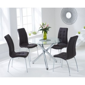 Nevada Round Glass Dining Table With 4 California Brown Dining Chairs