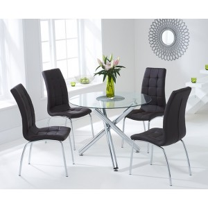 Inglewood 100cm Glass Dining Table with 4 Brown Chairs