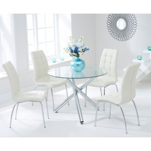Nevada Round Glass Dining Table With 4 California Cream Dining Chairs