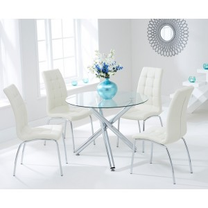 Inglewood 100cm Glass Dining Table with 4 Cream Chairs