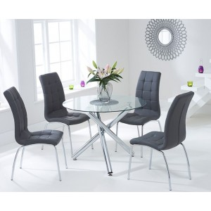 Nevada Round Glass Dining Table With 4 California Grey Dining Chairs