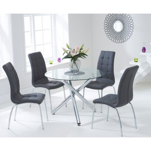 Wasdale 100cm Glass Dining Table With 4 Charcoal Grey California Chair Set