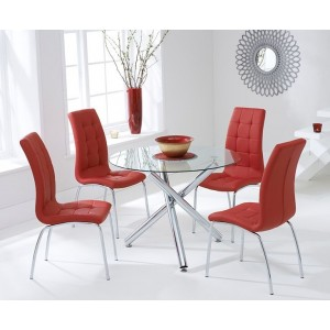 Nevada Round Glass Dining Table With 4 California Red Dining Chairs