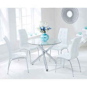 Nevada Round Glass Dining Table With 4 California White Dining Chairs