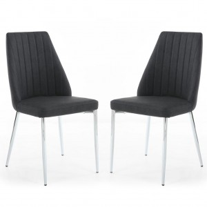 Odeon Curved Back Dark Grey Fabric Dining Chair In Pair
