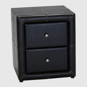 Odessa PU Leather Wooden Bedside Cabinet In Black With 2 Drawer