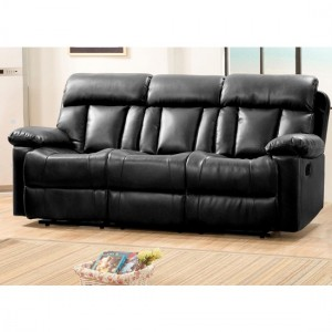 Ohio Bonded Leather And PU Recliner 3 Seater Sofa In Black