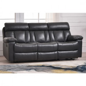Ohio Bonded Leather And PU Recliner 3 Seater Sofa In Grey