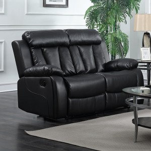 Ohio Leather And PU Recliner 2 Seater Sofa In Black