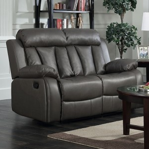 Ohio Leather And PU Recliner 2 Seater Sofa In Grey