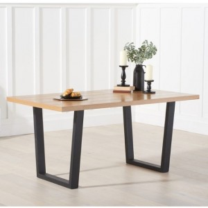 Olina Rectangular Wooden Dining Table In Oak With Black Legs