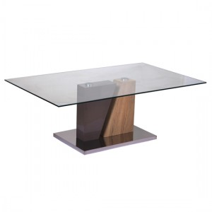 Olivia Champagne Glass Top Coffee Table With Natural Base