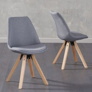 Olivier Dark Grey Fabric Dining Chairs With Square Oak Legs In Pair