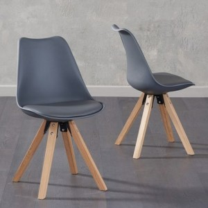 Olivier Dark Grey Faux Leather Dining Chairs With Square Oak Legs In Pair