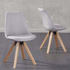 Olivier Light Grey Fabric Dining Chairs With Square Oak Legs In Pair