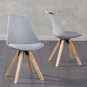 Olivier Light Grey Faux Leather Dining Chairs With Square Oak Legs In Pair