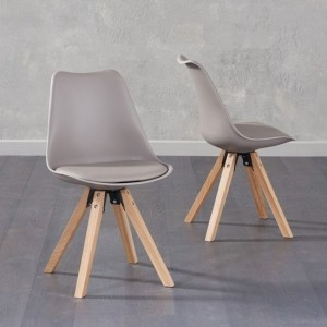 Olivier Taupe Faux Leather Dining Chairs With Square Oak Legs In Pair
