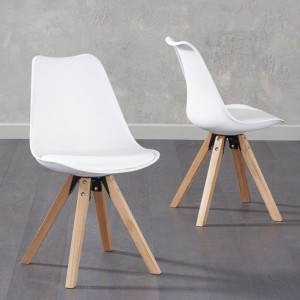 Olivier White Faux Leather Dining Chairs With Square Oak Legs In Pair