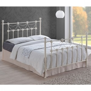 Omero Metal King Size Bed In Ivory