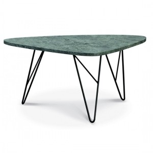 Ontario Wooden Coffee Table In Stone Effect With Black Metal Legs