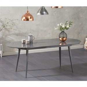 Opel Extending Wooden Dining Table In Grey High Gloss