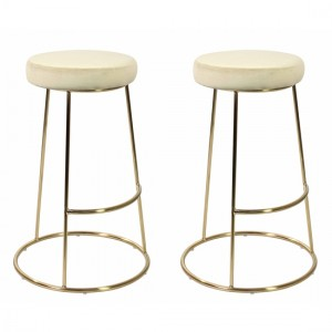 Opera Champagne Velvet Bar Stools In Pair