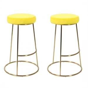 Opera Yellow Velvet Bar Stools In Pair