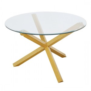 Oporto Medium Glass Dining Table With Oak Wooden Legs