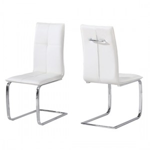 Opus White Faux Leather Dining Chairs In Pair