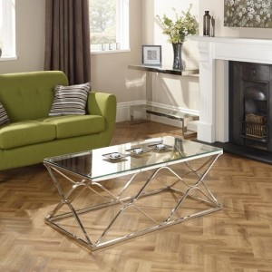 Orion Glass Top Coffee Table With Polished Stainless Steel Base