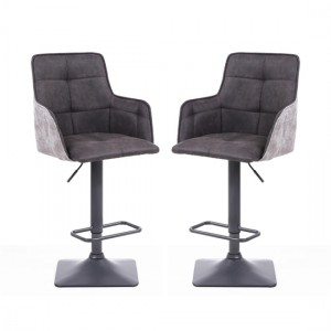 Orion Dark Grey Suede Effect Bar Stool In Pair