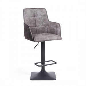 Orion Suede Effect Bar Stool In Light Grey