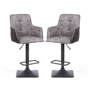 Orion Grey Suede Effect Light Bar Stool In Pair