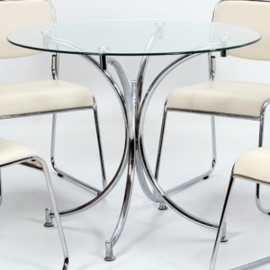 Orkney Glass Dining Table With Chrome Metal Legs