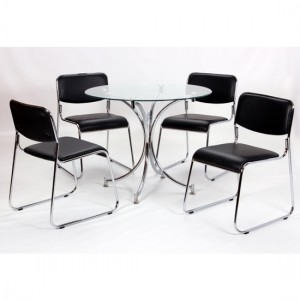 Orkney Round Clear Glass Dining Set With 4 Chairs