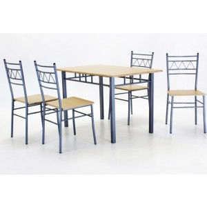 Oslo Rectangular Wooden Dining Set In Silver And Beech With 4 Chairs