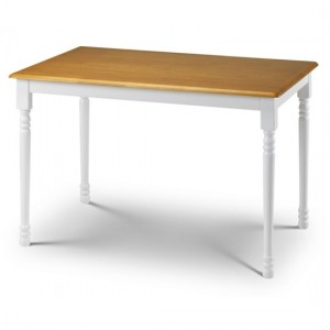 Oslo Wooden Dining Table In White And Oak