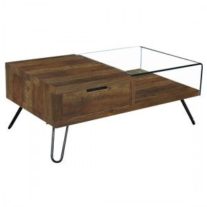 Overton Half Glass Coffee Table With Oak Effect Base