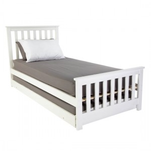 Oxford Wooden Single Bed With Guest Bed In White
