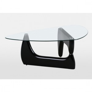 Paco Clear Glass Coffee Table with Black High Gloss Base