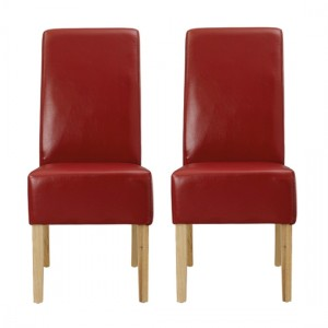 Padstow Red Faux Leather Dining Chairs In Pair