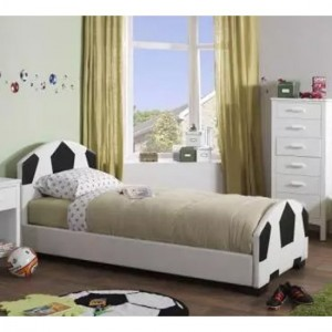 Pallone Faux Leather Single Bed In Black And White