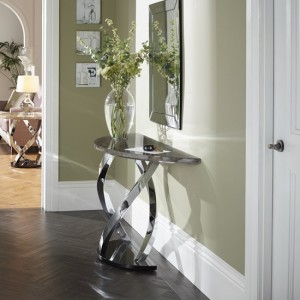 Pandora Marble Effect Top Console Table With Chrome Base