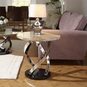 Pandora Marble Effect Top Lamp Table With Chrome Base
