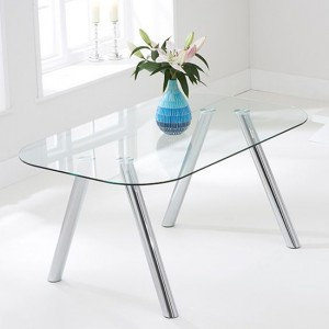 Pantheon Glass Dining Table With Chrome Stainless Steel Legs