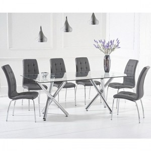 Paris Large Glass Dining Table With 6 Grey Leather Opal Chairs
