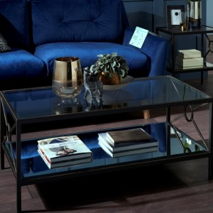Patna Brown Coffee Table With Mirrored Top