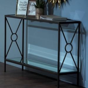 Patna Brown Console Table With Mirrored Top